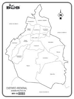 Distrito Federal - División política s/n - Ediciones Bob